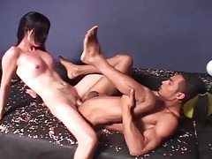 Shemale stuffs her dick into his tight asshole tubes