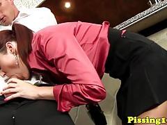 Pee covered fetish slut fucked in bar tubes