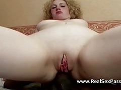 Curly haired blonde lets black cock up her ass tubes
