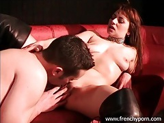 Bitch in sexy boots and collar has hot sex tubes