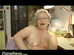 Horny old chubby granny masturbating with dildo tubes