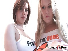 Big tits girls do a sexy striptease together tubes