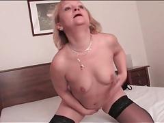 Stout mature blonde in black stockings tubes