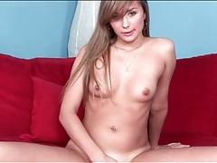 Sexy brunette with tiny titties masturbates solo tubes