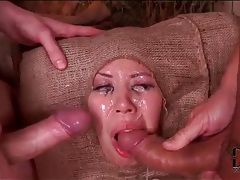 Big titty asian face fucked roughly by two guys tubes