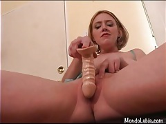 Big natural tits girl fucks a dildo deep in her pussy tubes