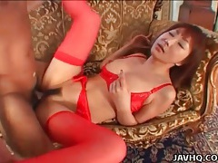 Red lingerie is lovely on japanese girl fucking tubes