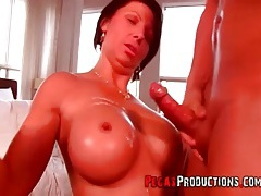 Fit milf with sexy implants fucked in her box tubes