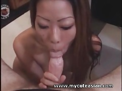 Skinny asian drops to her knees to suck dick tubes