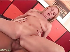 Tight shaved milf pussy rides his cock tubes