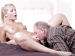Elena fucked old guy after he licked her cunt tubes