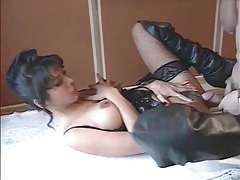 Leather lingerie looks sexy on girl in fuck porn tubes
