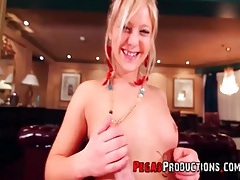 Blonde in beautiful eye makeup gives a pov blowjob tubes