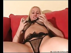Blonde with big titties looks sexy in lingerie tubes