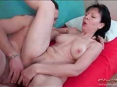 Cocksucking old lady rides his thick young dick tubes