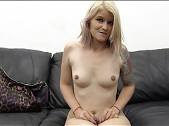 Trashy blonde amateur strips on casting couch tubes