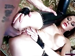 Anal whore in black latex stockings tubes