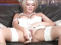 Milf amber jayne masturbates in white dress tubes