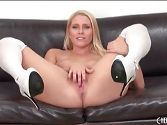 White stockings and high heels on hot blonde tubes