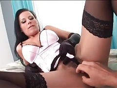 Satin gloves and lingerie on hottie sucking dick tubes
