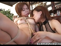 Impeccable asian hottie finger banged by her raunchy domme tubes