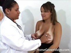 Lesbian doctor fondles sexy tits of busty girl tubes