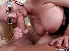 Sexy blonde in great glasses has hardcore sex tubes