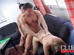 Bisexual guys fuck each other and cum on the girl tubes