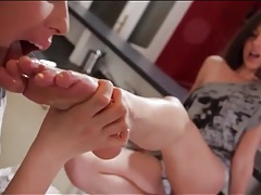 Girls suck whipped cream off their toes tubes