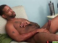 Big black cock with piercing stroked lustily tubes