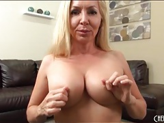 Milf fondles her fake tits in close up tubes