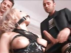 Dirty whore bound by tape sucks three cocks tubes