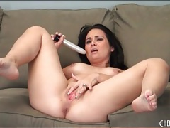 Curvy girl solo with her toys and fucking tubes