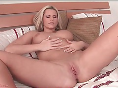 Curvy solo blonde with big breasts masturbates tubes
