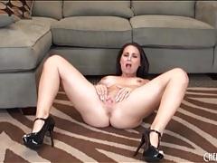 Big tits girl in shiny black high heels tubes