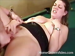 Slut bent over a pool table and laid tubes
