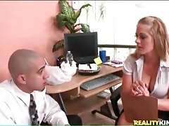 Office babe gets her sexy tits sucked on tubes
