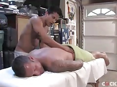 His masseur takes a hard cock in the tight ass tubes
