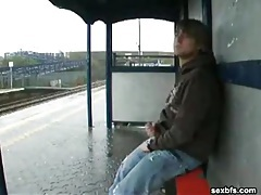 Public masturbation at a train station tubes