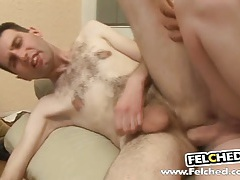Blondy gay cum felching tubes