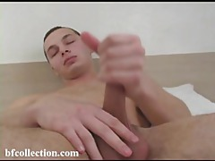 Cutie lubes up his cock and strokes it tubes