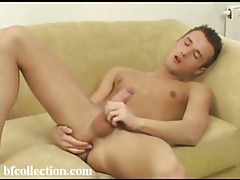 He's stroking his twink meat and he's getting hard tubes