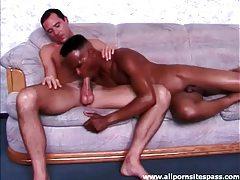 Black guy with hot lean body sucks white dick tubes