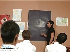 Cute twink students team up to blow their teacher tubes