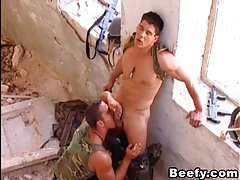 Soldiers fucking outdoor tubes