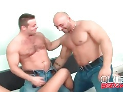 Bisexual foreplay with two muscular men tubes
