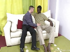 White guy goes down on black cock to make it big tubes