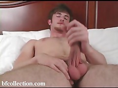 Young gay guy in the bed jerking off tubes