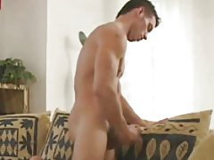 Muscular young man masturbating his hard dick tubes