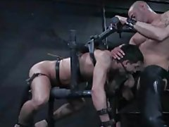 Gay dude in bondage is face fucked tubes